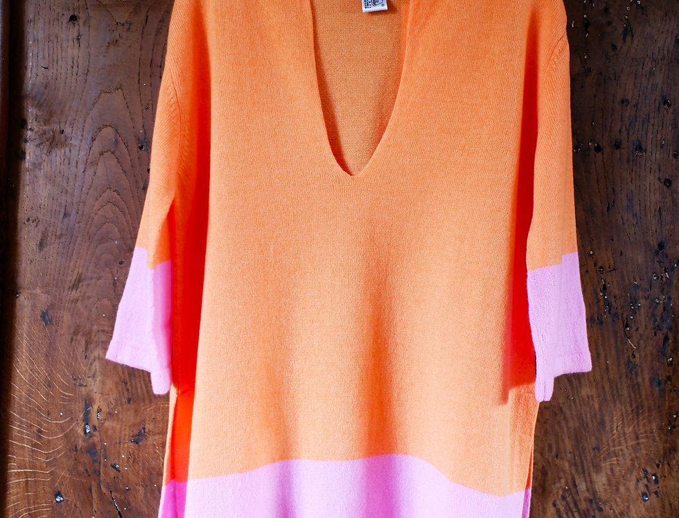 Short Orange Cashmere Caftan