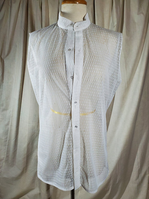 Sheer Dotted Top (Unisex) Mock Collar