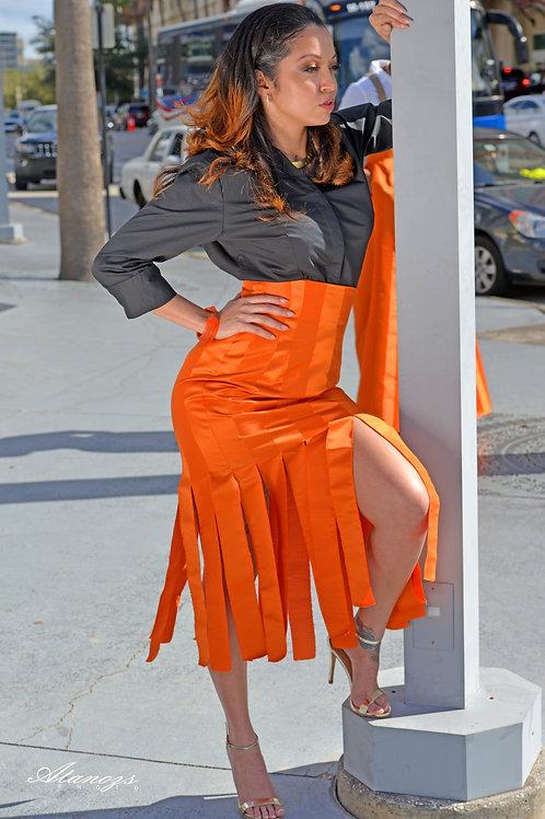 High Waisted Orange Car Wash Skirt