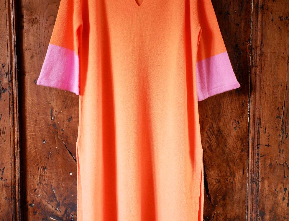 Long Orange Cashmere Caftan