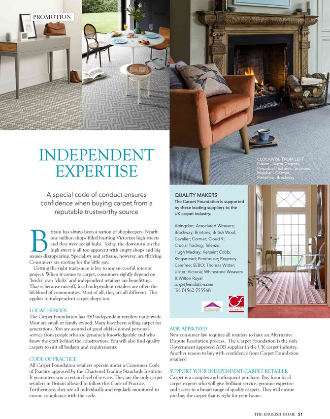 The Carpet Foundation feature in The English Home Magazine