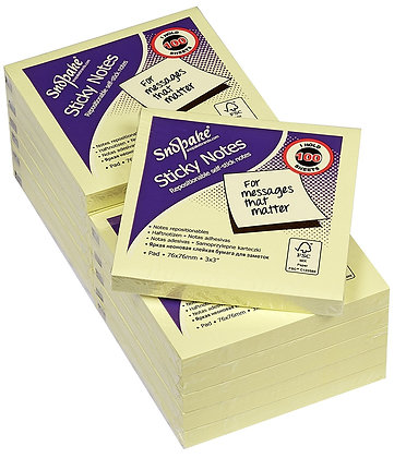 Snopake Lot of 12 repositionable note pads 100 sheets per block Yellow 76