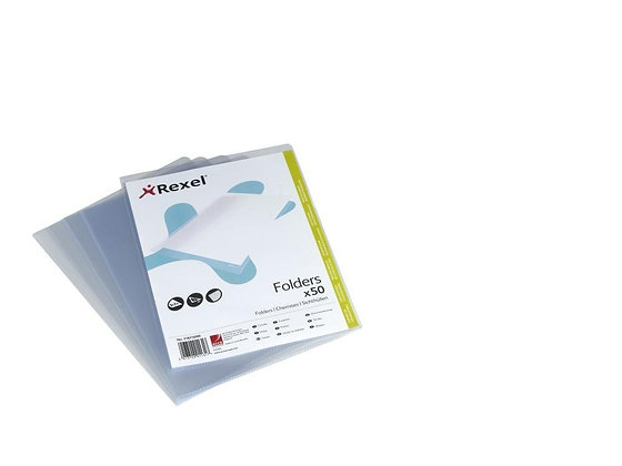 Rexel - Pack of 50 A4 Corner Coin Folders (Pockets) - 120 µ