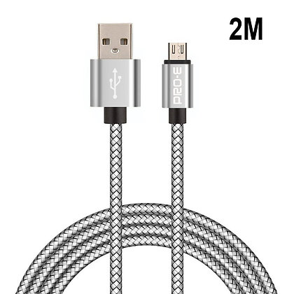Micro USB cable, Pro-E 2 m Shielded micro USB cable, braided nylon
