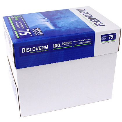 White A4 paper 75 g Discovery - Box of 5 Reams of