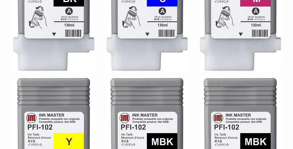 SET 6 Cartouche Compatible CANON PFI-102 CMYKMkMk pour Canon IPF 750