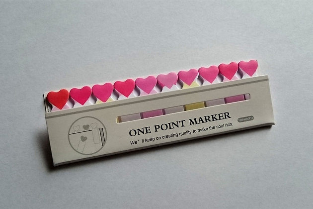 Mini index bookmarks repositionable kawaii little heart