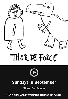 ThordeForce drawing. Man an monster by Thor Madsen. Artwork for Sundays In September