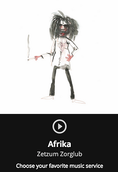 "Painting of artist. Cover artwork or Zetzum Zorglub single ""Afrika""."