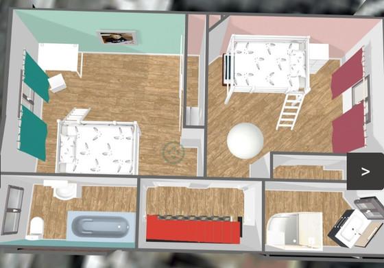 Espace nuit 1er étage, 2 chambres de 15 et 17m2