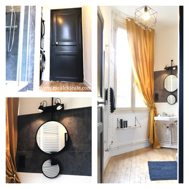 Salle de douche premier étage avec espace machine à laver et sèche-linge