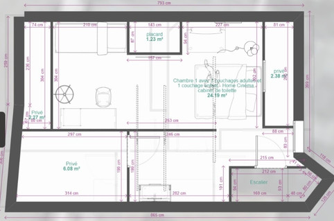 2ème étage - une grande chambre de 20m²
