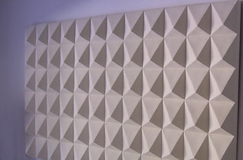 White Ceramic Pyramid wall piece by Keny