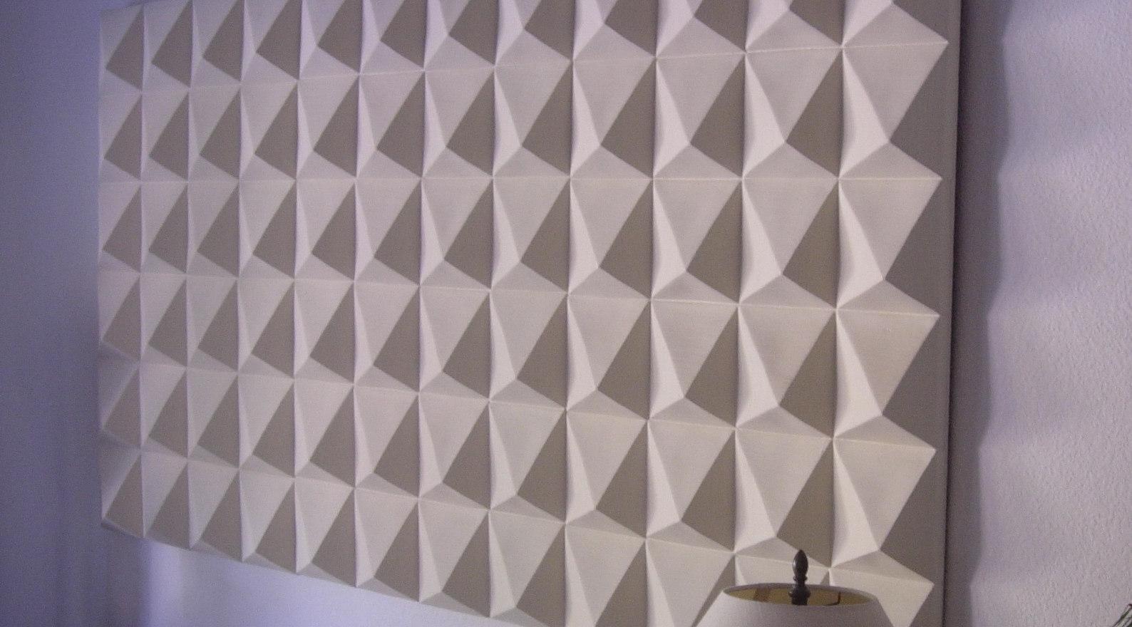"""White Ceramic Pyramids"" - 3D Wall Tiles"