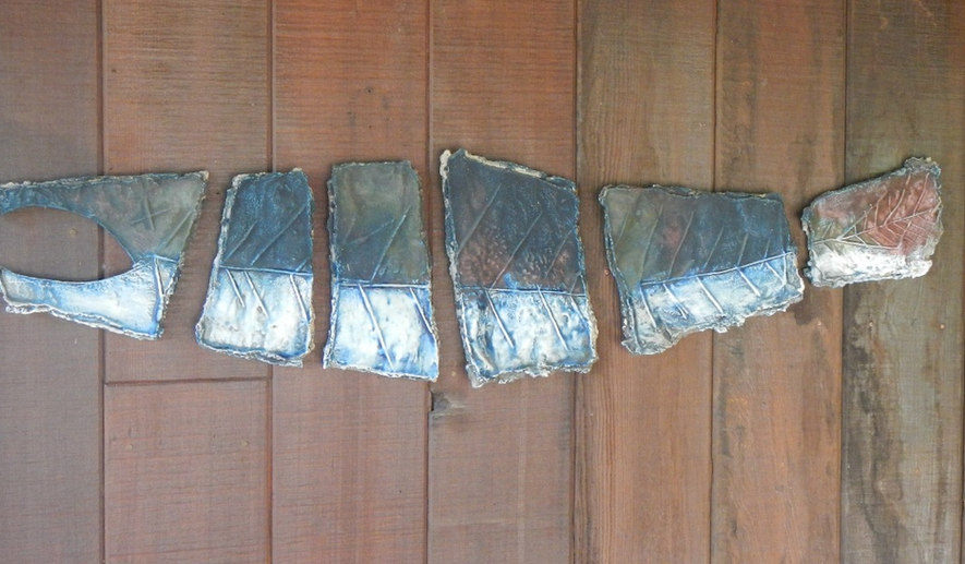 """Segmented Salmon"" on Wood Panel"