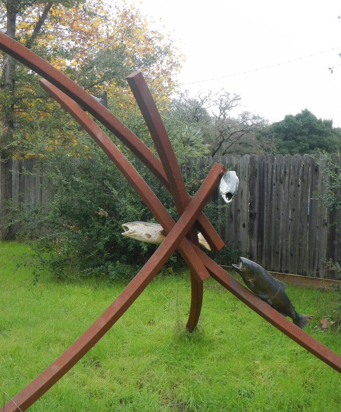 """Migration"" - Steel Sculpture with Ceramic Fish"