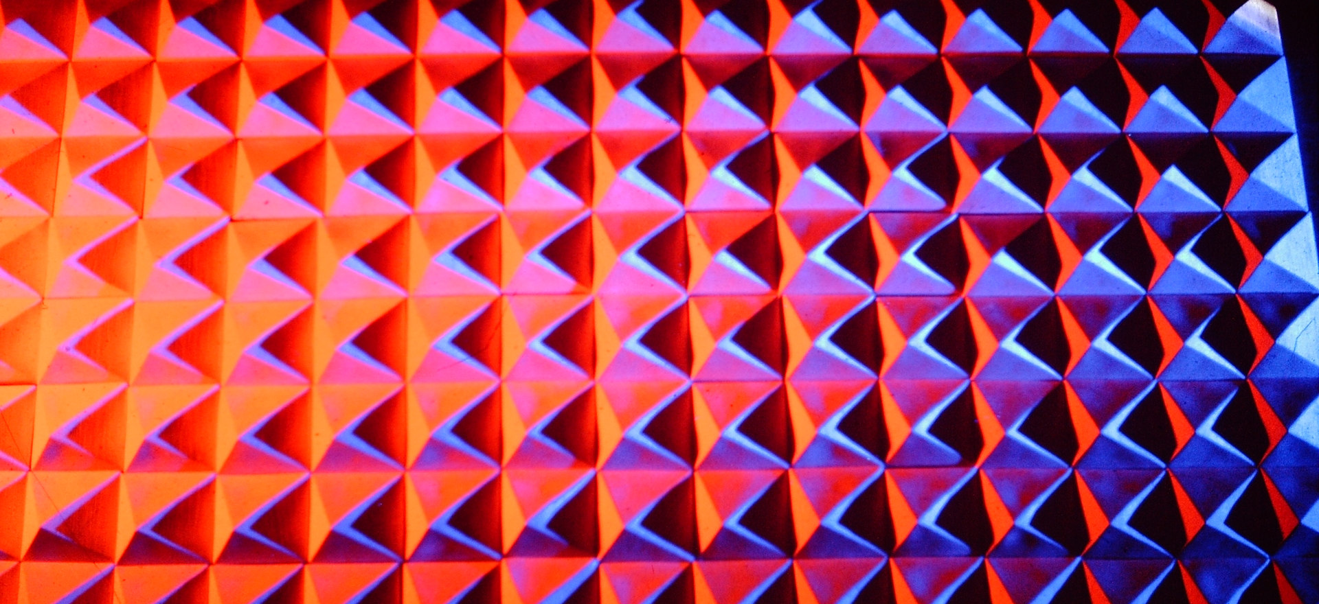 """White Ceramic Pyramids"" - detail with multicolored light"