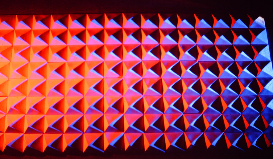 """White Ceramic Pyramids"" - detail with multicolored light"