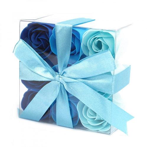 Ensemble de 9 fleurs de savon - Roses de mariage Bleu