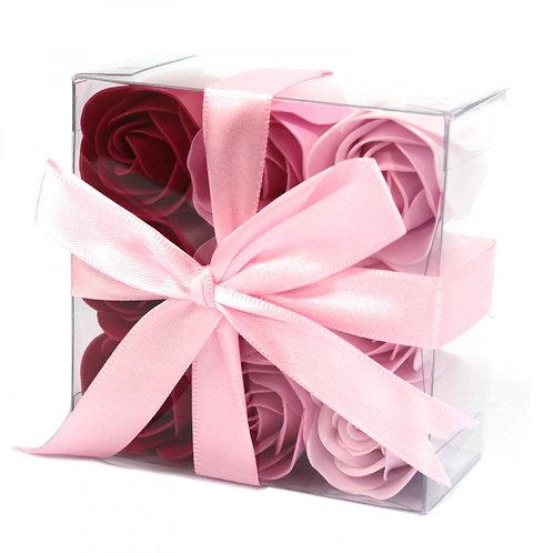 Ensemble de 9 fleurs de savon - roses roses