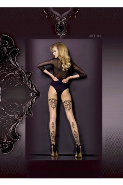 Collant nude motifs noirs baroque
