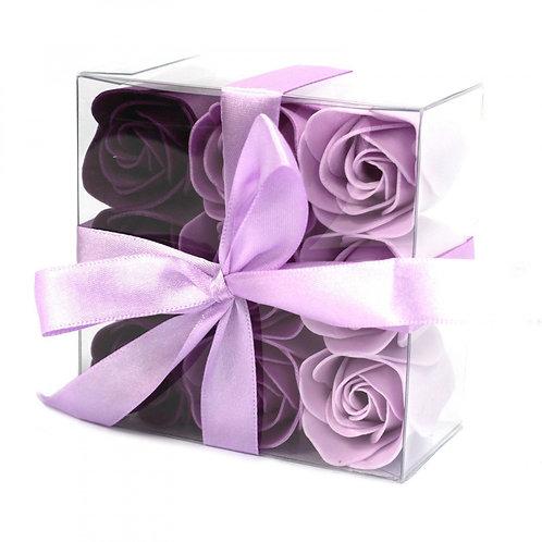 Ensemble de 9 fleurs de savon - Roses lavande