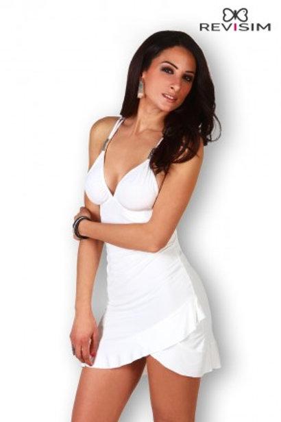 Robe blanche bretelles croisées et dos nu