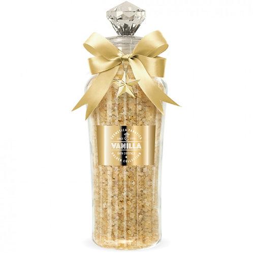 Cristaux de bain vanille en bouteille de verre, or