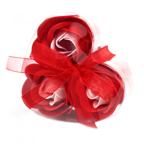 Ensemble de 3 fleurs de savon en forme de coeur