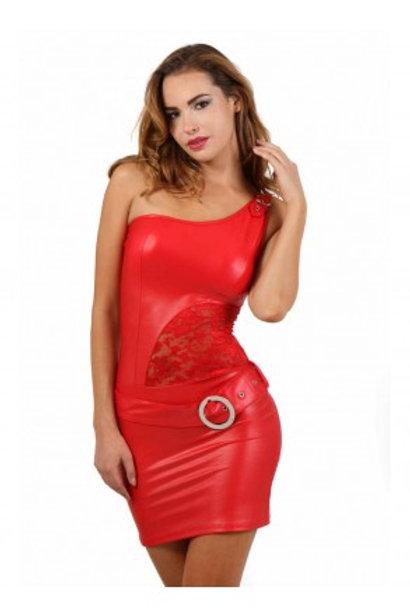 Robe rouge wetlook et dentelle