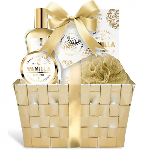 Coffret 6 pièces vanille or avec panier en osier
