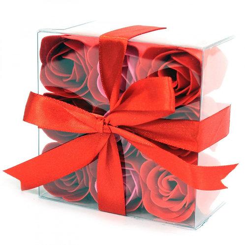 Ensemble de 9 fleurs de savon - Roses rouges