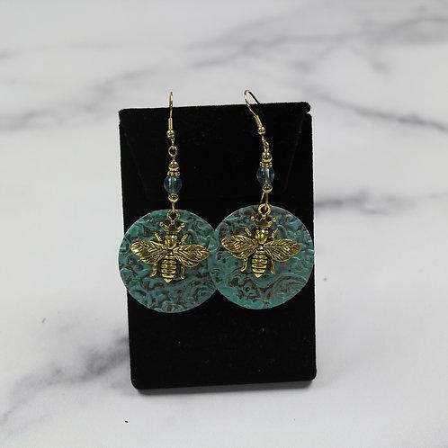 Rustic Blue Bee Earrings