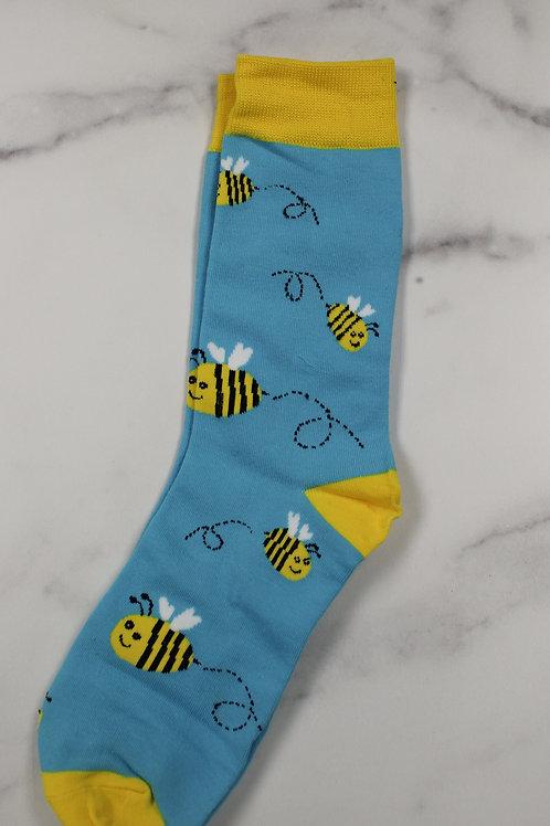 Bee Fun Blue Dress Socks