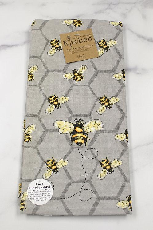 Bee Grey Kitchen Towel