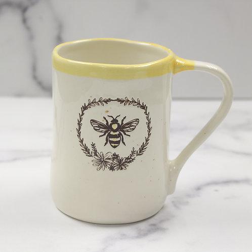 Farmhouse Yellow Accent Bee Mug