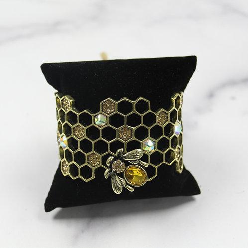 Honeycomb Bee Cuff Bracelet
