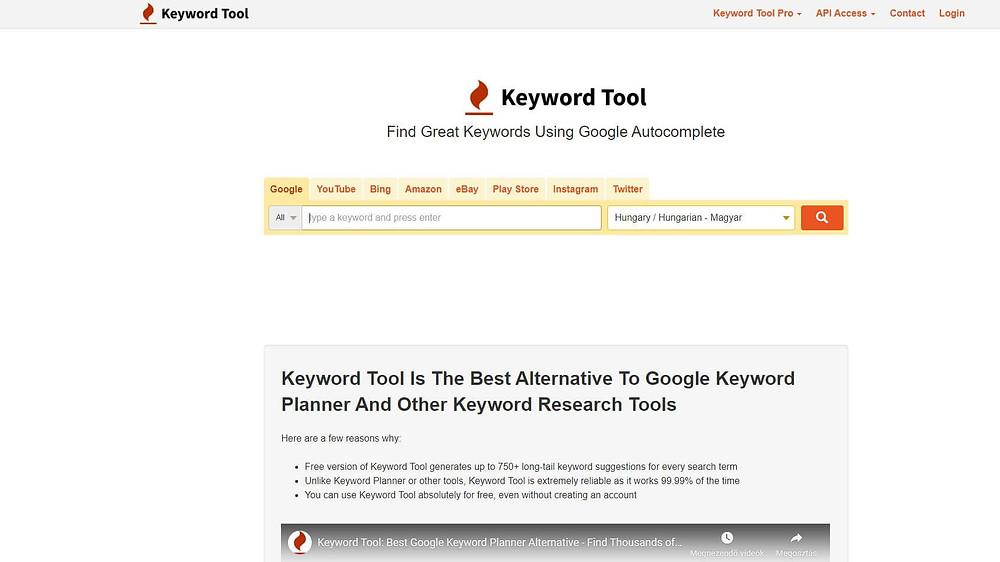 keywordtool.io kulcsszó kutatás eszköz használata