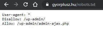 Győr+ robots.txt beállítás