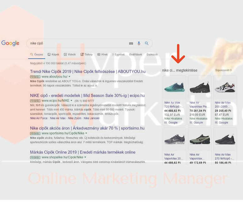 google shopping megjelenes a keresesi ta