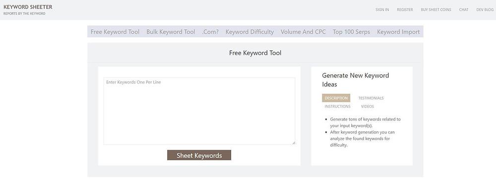 Keywordsheeter kulcsszó kutatás eszköz használata