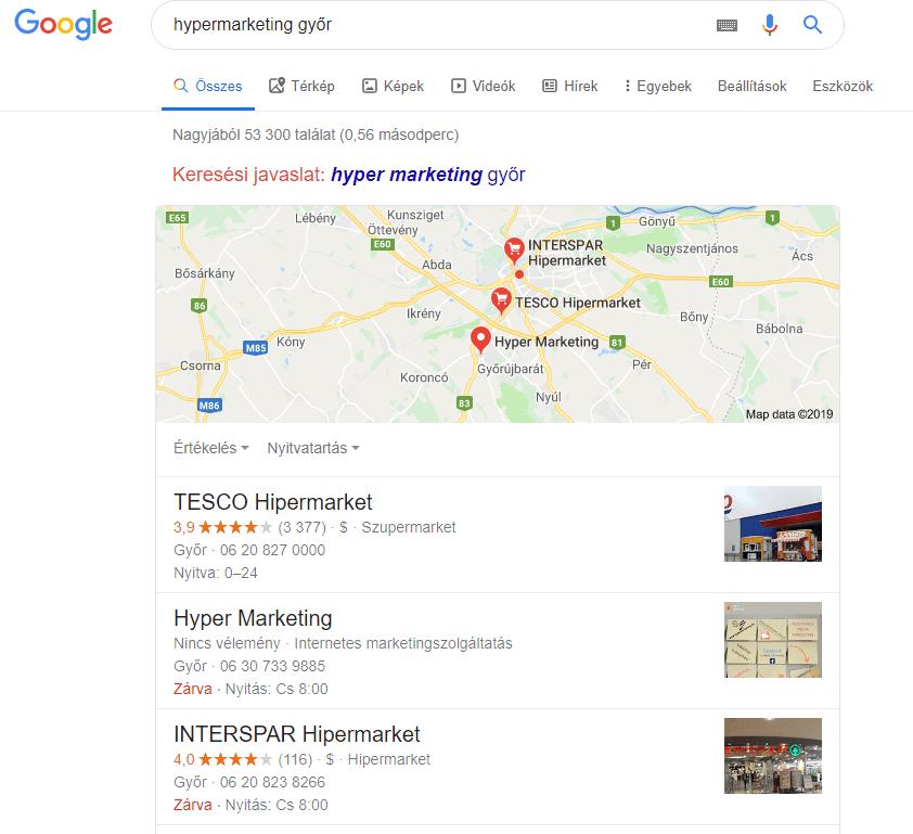 Hyper Marketing Google Cégem a keresési találatok között-közösségi média marketing Győr