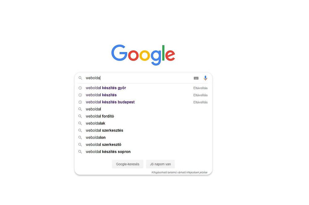 Google keresési kiegészítés kulcsszó kutatásban