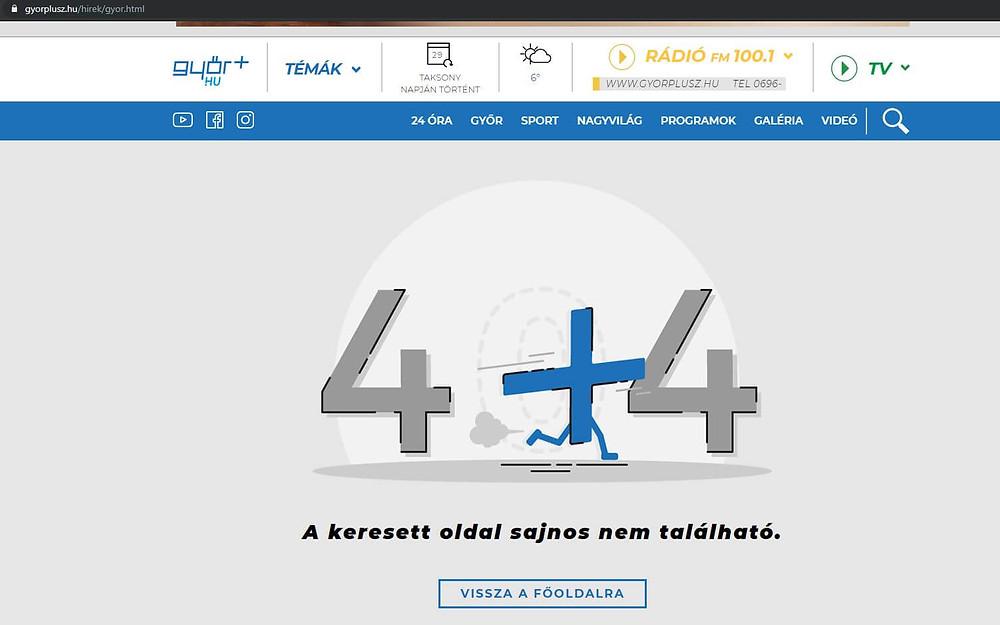 Győr+ 5. organikus helye egy 404-es hibaoldal