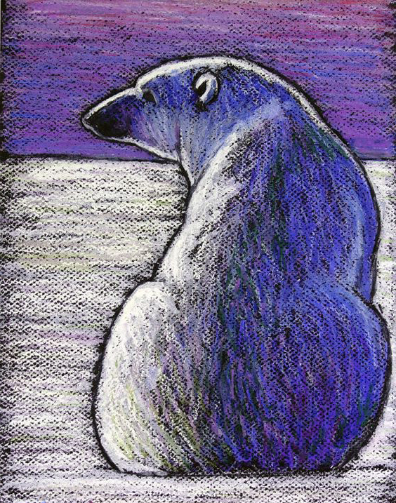 Oil Pastel Polar Bear