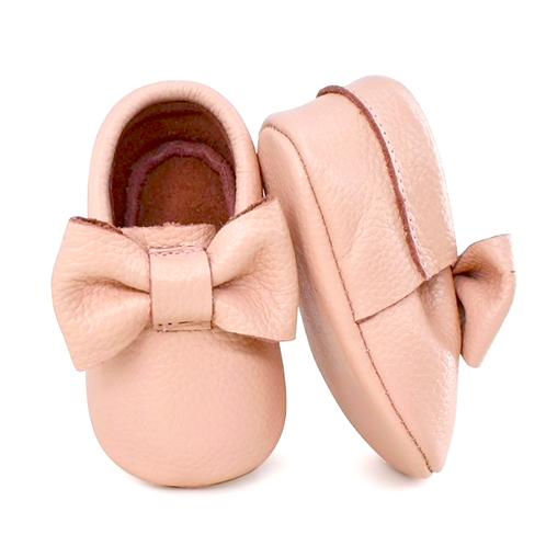 Bow moccs - Soft Pink