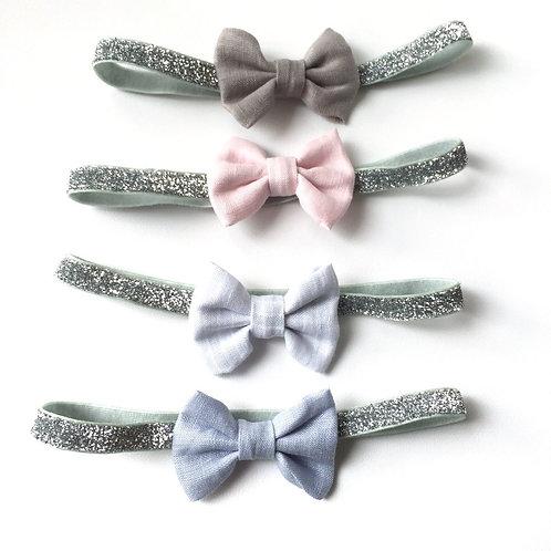 Linen bows - Glitter Bands