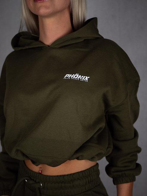 "Phönix Cropped Hoodie Oversize ""military green"""