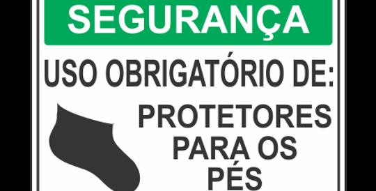 Placa de EPI Uso Obrigatório de Protetores Pés