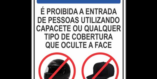 Placa Aviso Proibido Uso de Capacete ou Boné